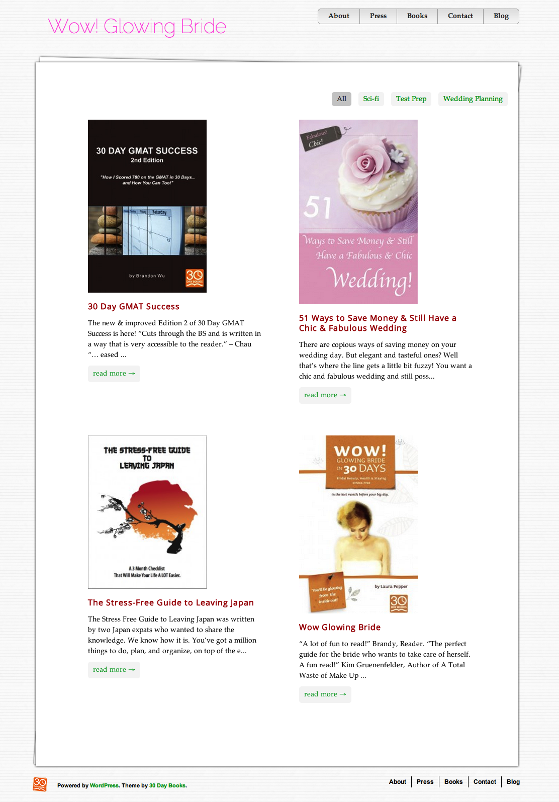 Authorlicious WordPress Template Preview Page | 30 Day Books